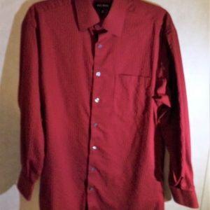 Men's Dress Shirt Red Striped Axcess